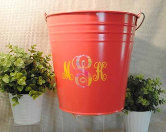 Large Personalized Metal Pail | Teal or Pink w Wooden Handle | Galvanized Bucket | Gift Pail