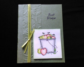 Best Wishes card/water-colored bucket of apples/blank inside
