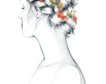 "Fashion Sketch, Gicleé Illustration Art Print, ""Braid Lady"", By Samantha Burns, Samantha Illustration"