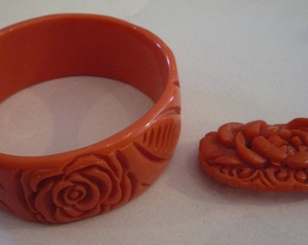 Vintage 1930's Carved Celluloid Pin and Bracelet with Florals in Salmon Color Estate Find