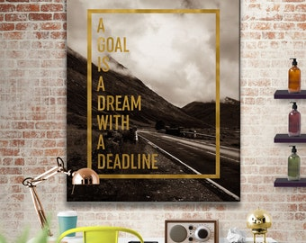 """Gold Print Art """"A Goal Is A Dream With A Deadline"""" Quote, Gold Office Print, Sepia Art, Sepia Photography, Sepia and Gold, Brown and Gold"""