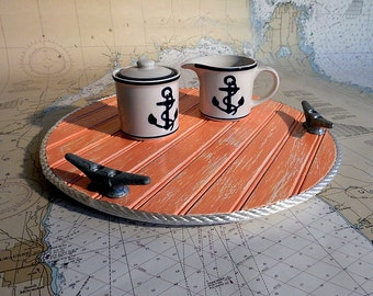 Wood Lazy Susan   Turntable Food Tray   Nautical Kitchen Decor   Galvanized  Boat Cleats