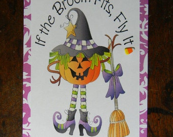 Happy Halloween Greeting Card, If the Broom Fits Greeting Card, Halloween Greeting Card, Handmade Greeting Cards