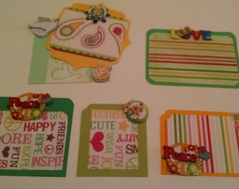 Peace, Love, & Happiness Green/Yellow Scrapbook Embellishments ~ 6 Piece Embellishment Set