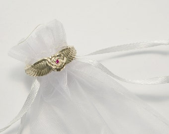 Fine Silver Angel Wings Ring with Rose / Birthstone