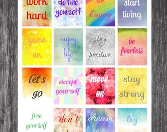 Inspirational Planner Stickers - 16 Count - Erin Condren, Kikki K, Filofax, Plum Paper - Boxes for ECLP, Quote Stickers
