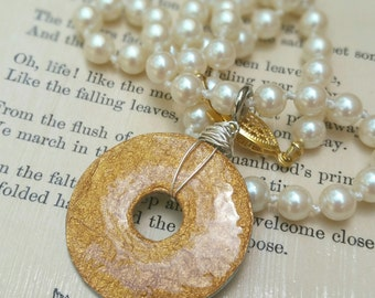 Gold toned necklace, detachable pendant, small pendant, gift under 20 dollars for her, washer pendant