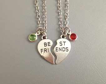 Set of 2 necklace - heart necklace - love necklace - best friend necklace - friendship - girlfriend - birthstone - birthday gift
