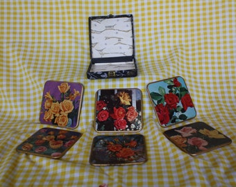 VIntage Rose Flower Coaster Set in Box by Win-El-Ware made in England