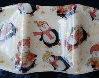 Fused Glass 3 Part Sectional Dish - Christmas Penguins