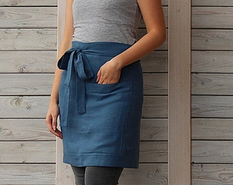 Cafe Apron, Linen Half Apron, Mens and Women Chef Half Cafe Wrap Apron. Hand made by LinenSky