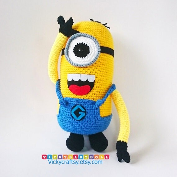 Free Minion Cushion Crochet Pattern : Handmade Crochet Minion Minion Pillow Minion Plush by ...