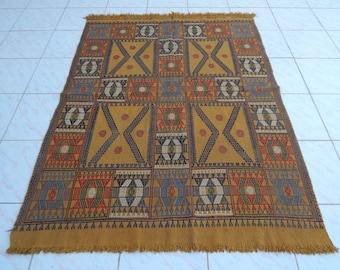 4'1'' X 5'5'' / 125 X 164cm New Handmade Turkish Kilim Production Embroidery Rug,Flatweave Traditional Rug, Vegetable Colour Rug, Office Rug