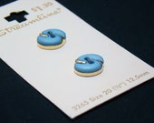 Vintage Buttons - Blue and Gold - Orginal button card