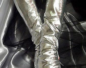 X Long silver metallic fingerless gloves Arm warmers