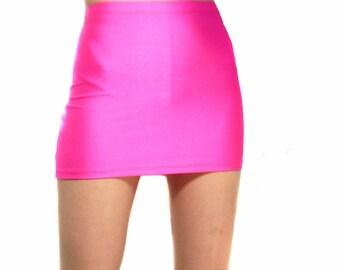 High waisted neon pink spandex mini skirt