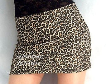 High waisted leopard print spandex mini skirt black lace top