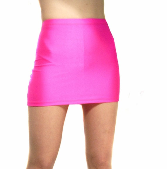 high waisted neon pink spandex mini skirt