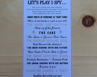 Customizable Printable - I Spy Wedding Photo Game