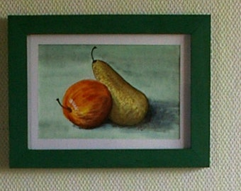 Variation Pear and apple - Watercolor Painting-Still life