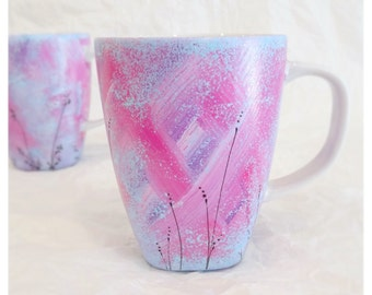 Cute mug, purple, pink and blue, floral design, coffee mug, mug, hand painted mug, unique mug, porcelain mug