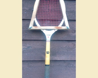 Vintage Tennis Racquet With Wooden Guard Vintage Wilson Tennis Racquet Wooden Wilson Champ Tennis Racket With Wood Guard Cover Tennis