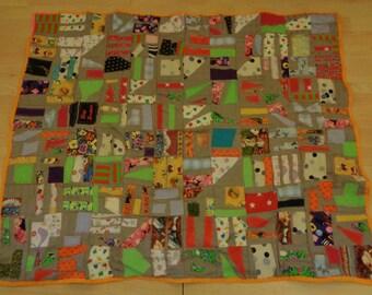 Applique multicoloured scrappy patchwork throw