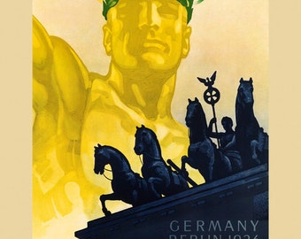 Olympics 1936 Germany Berlin Olympic Games German European Sport Vintage Poster Repro FREE SHIPPING in USA