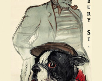 Bar Pub Boston Terrier Beer Dog Newbury Street Bar Restaurant Sea Food Vintage Poster Repro FREE SHIPPING in USA