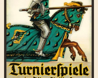 Sport Jousting Horse Knight 1937 Germany German Vintage Poster Repro FREE SHIPPING in USA