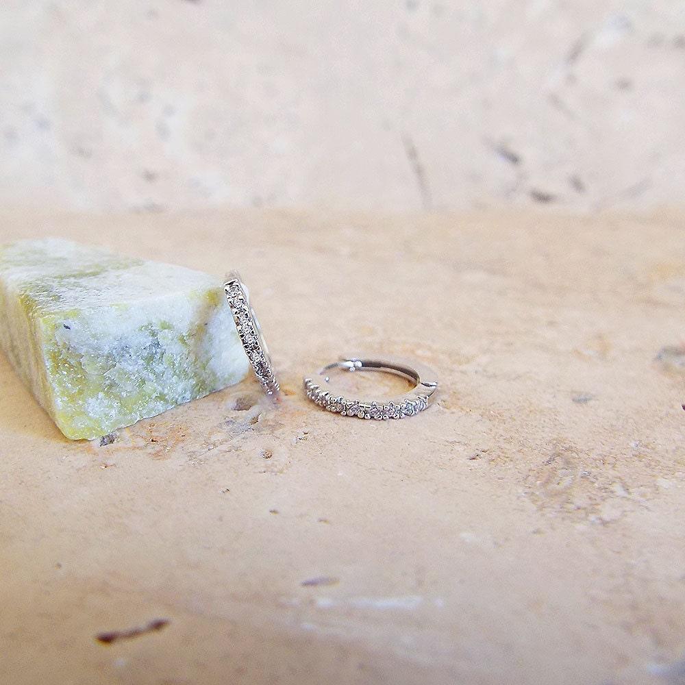 Extra Small Diamond Huggie earrings CZ micro pave huggie hoop earrings in White gold 1 mm x 1 cm cartilage hoops