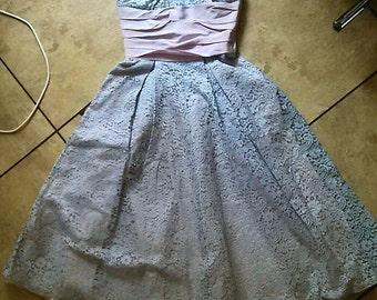 50s Party Dress / 50s Prom Dress / 50s Pink Strapless Dress / Rockabilly Pin Up Dress