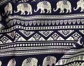 Elephant Print Fabric, Boho Fabric,Alternate Elephant Print,Dark Navy and White, Indian Cotton,Indian Elephant,fabric by the yard,folk print