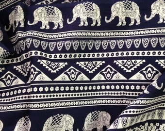 Elephant Print Fabric, Boho Fabric, Alternate Elephant Print, Dark Navy and White, Indian Cotton, Indian Elephant, By the yard, Folk print