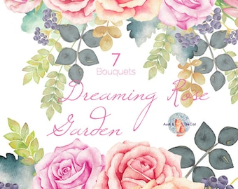 Watercolor Dreaming Rose Garden Bouquet Flowers Hand Painted, Floral, Wedding Invitation,  Greeting Card, DIY Clip Art