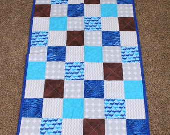 Blue and teal whales baby quilt