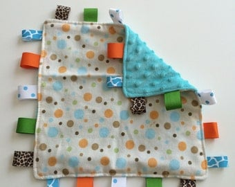 Polka dot frenzy in Orange, teal & brown taggie baby blanket
