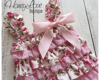 Floral Satin & Pink Lace Petti Romper, pettiromper, vintage inspired, photo prop, special occasions, smash cake, 1st First Birthday outfit