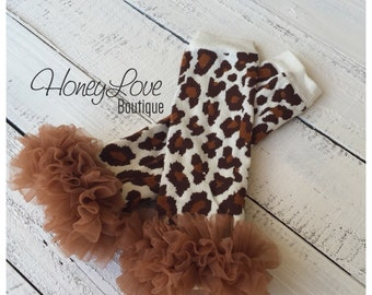 Leopard print leg warmers with chiffon ruffles, leopard legwarmers, animal print leggings, stockings, baby infant toddler little girl