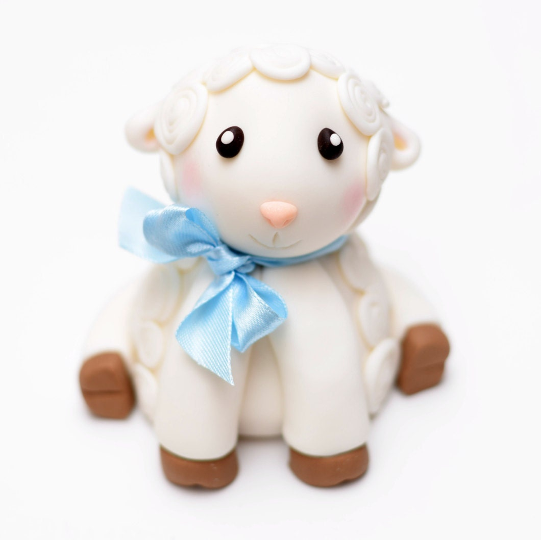 Fondant Baby Lamb Cake Topper with Bow Special Occasion