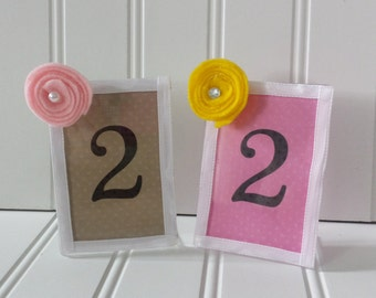 Polka Dot Table Numbers - Available in a Variety of Colors and Sizes