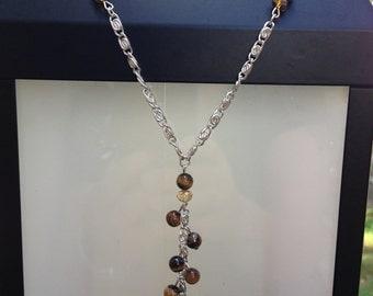 Tiger's Eye Cluster Drop Necklace Set
