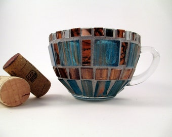 Teal and brown tealight, mosaic teacup, Unique tealight, Home decor,