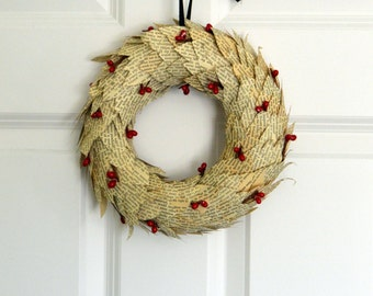 Recycled Book Wreath, Upcycled Book Decoration