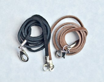 Suede Necklace Cord with Lobster Clasp in Black or Brown, Pendant and Choker Cord
