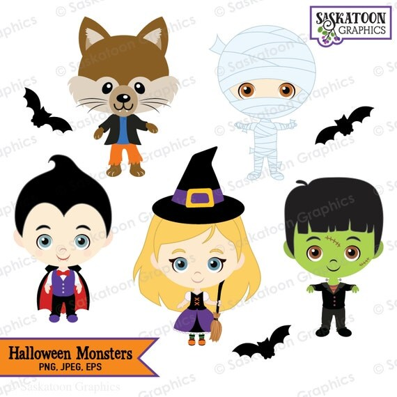 cute halloween monsters clipart instant download file