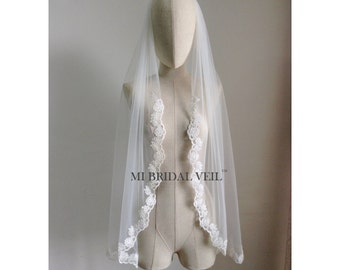 Custom Bridal Veil, Rose Lace Bridal Veil, Lace starts from Upper Arm, Single Tier Lace Veil, Fingertip, Waltz, Floor, Chapel, Cathedral