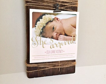 Wooden Picture Frame with Clip and Twine Accent