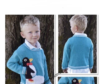 "Penguin Pullover Knitting Pattern 26-30"" - PDF Download"
