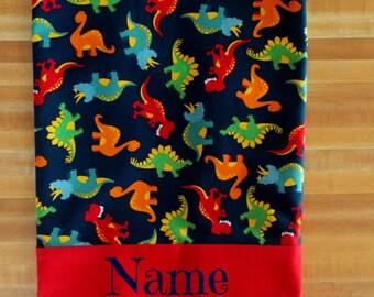 Cute Dino Pillowcase, Every Boys Dream, Boys Pillowcase, Pillowcase, Colorful Dinosaur Pillowcase, Embroidered, Monogrammed, Personalized